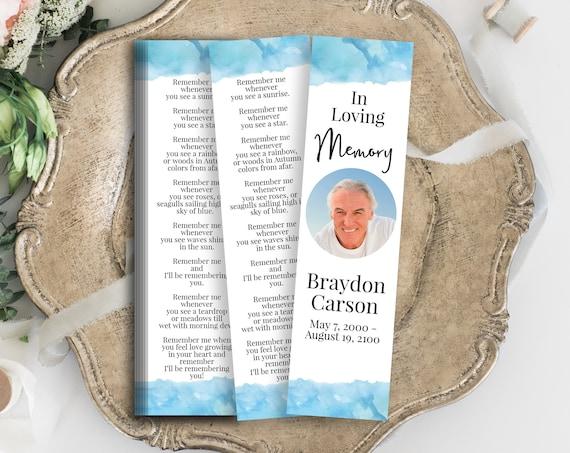 Memorial Bookmark, Blue Water Color Celebration of Life, Funeral Poem Card, Editable Corjl Template PPF600B