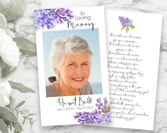 Lilac Floral Prayer Card, Purple Memorial Card, Violet Celebration of Life, Funeral Poem Card, Editable Corjl Template PPF2021LPB SHAE