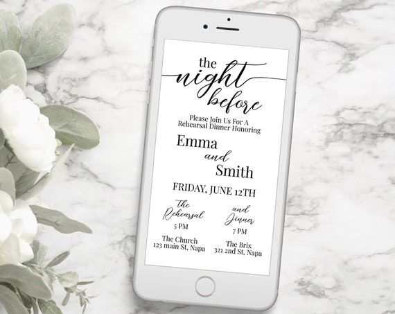 Wedding Rehearsal Invitation, Rehearsal Dinner, Evite, Digital, Text Message, Email, The Night Before, Event, Invite Editable PPW16 MAE