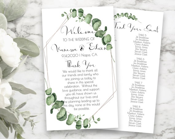 Rose Gold Frame Greenery Program and Seating Arrangements, Wedding Welcome, Seating Chart, Wedding Fan 100% Editable  PPW0445