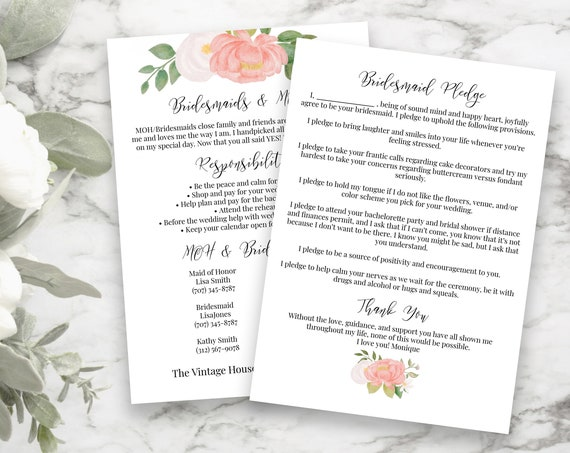 Bridesmaids Commitment Card, Pink Floral Printable Bridesmaid Pledge, Letter to Bridesmaid, Maid of Honor Proposal Box 100% Editable PPW0230