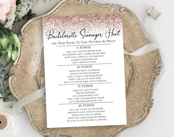 Rose Gold Glitter Bachelorette Party Pointed Scavenger Hunt Game Card Template, Bach Weekend Activity, Bridal Activity PPW90 PPW92