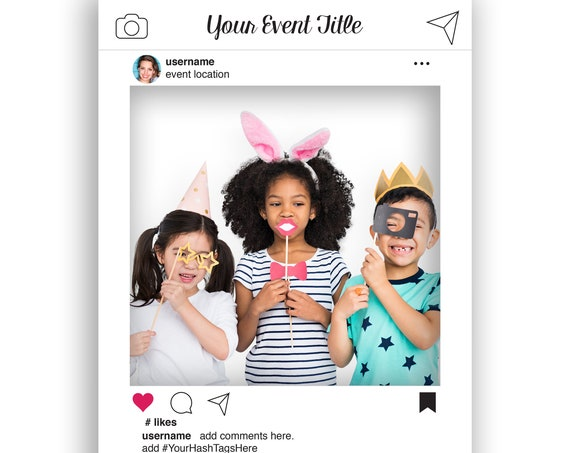 Social Media Photo Prop Editable Frame, White Photo Booth Prop, Weddings,Birthday, Baby or Bridal Shower,  Template, Instant Download PDF