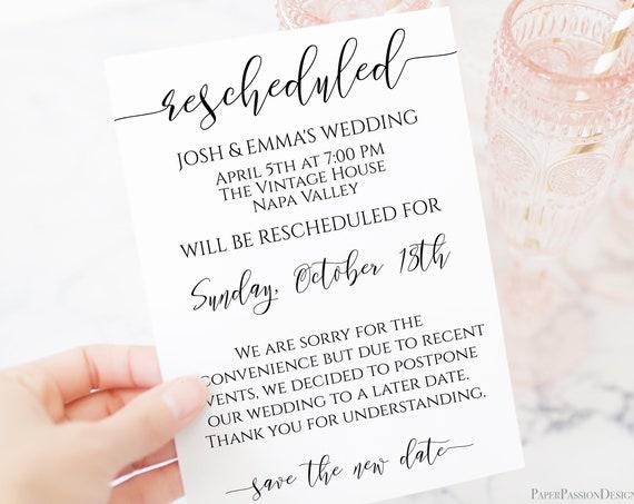 Rescheduled Announcement Card, Wedding, Event Date Change, Shower, Reunion, Cancellation, Postponement, 100% Editable, Corjl PPW0550