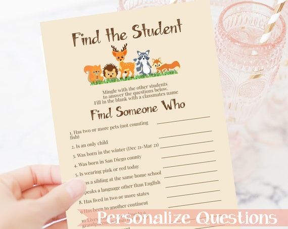 Find the Student Game, Classroom Party Game, School Class Party Activity Woodland