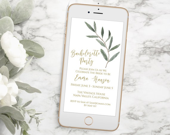 Bachelorette Party, Electronic Invitation, Evite, Digital, Text Message, Editable Phone Invite, Gold and Greenery, Editable Template PPW800