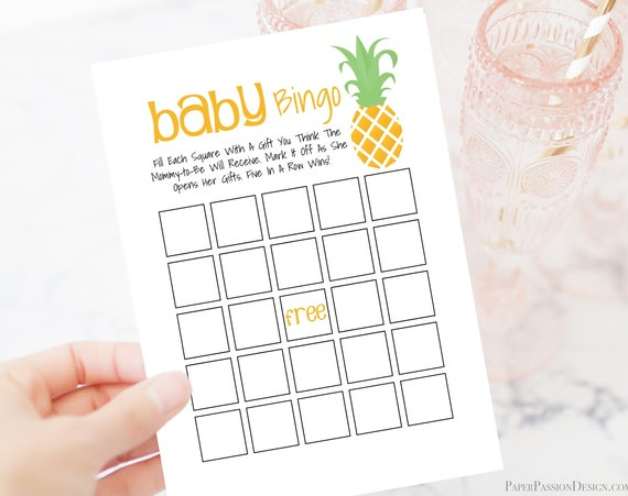 Pineapple Theme Baby Shower Bingo, Gender Neutral Theme, Printable Baby Shower Game PPB-Pineapple