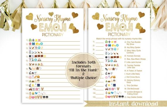 Glitter Emoji Nursery Rhymes Quiz ~ Gold Glitter Baby Shower ~ Gold Foil ~ Baby Girl Hearts ~ Printable Game 5GL_Gold