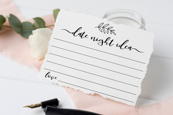 Date Night Idea Card Template, Rustic Modern Leaf, Wedding or Bridal Shower Advice Card,  Instant Download 100% Editable, Templett PPW0575