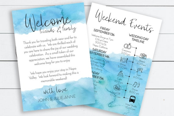Blue Watercolor Printable Wedding Welcome Card, Printable Out of Town Timeline, Wedding Day Schedule, Welcome Bag 100% Editable PPW0600