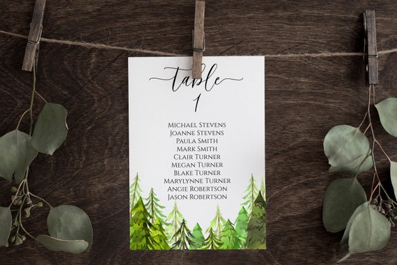 Wedding Table Seating Card Display Template, Tree Forest Printable Table Seating, Wedding Seating, Editable Template, Corjl LINDEN PPW410