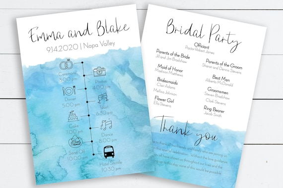 Blue Watercolor Printable Wedding Timeline & Program, Printable Itinerary, Wedding Day Schedule, Program 100% Editable PPW0600