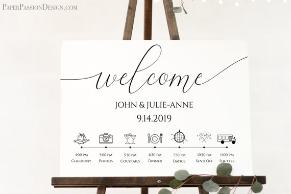 Wedding Day Welcome Timeline Sign, Printable Wedding Day Schedule, Reception Itinerary, 100% Editable, Templett  PPW0560