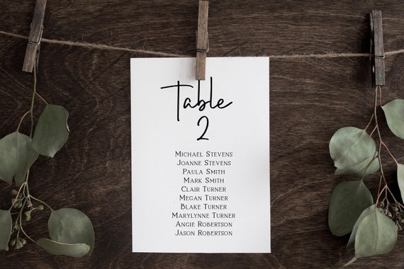 Wedding Seating Table Card, Seating Chart, Rustic Table Seating Plan 100% Editable Corjl PPW508