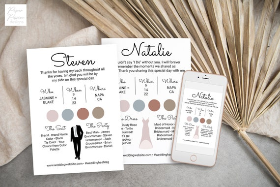 Wedding Party Dress and Tuxedo Info Card Set, Bridesmaids Information Card, Wedding Party Details,  Modern Font Wedding Printable AVA PPW301