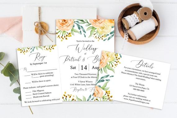 Blush Floral Invitation Suite, Editable Wedding Invite Package, RSVP, Details, Template, Instant Download 100% Editable, Templett  PPW0225