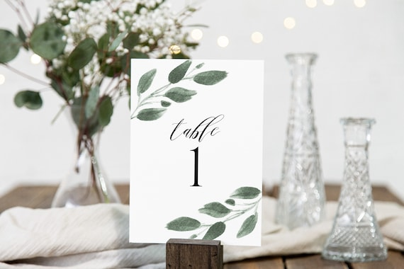 Table Number Template, Greenery Number Display Cards, Wedding Table Decor, 100% Editable,  Templett PPW0450