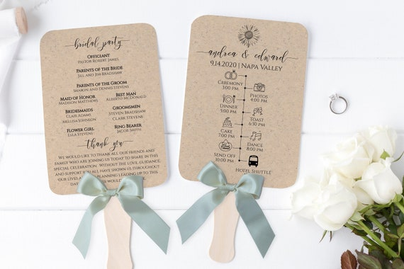 Wedding Fan Timeline and Program, Wedding Day Event Template, Sunflower, Personalized Instant Download 100% Editable, Templett PPW0530