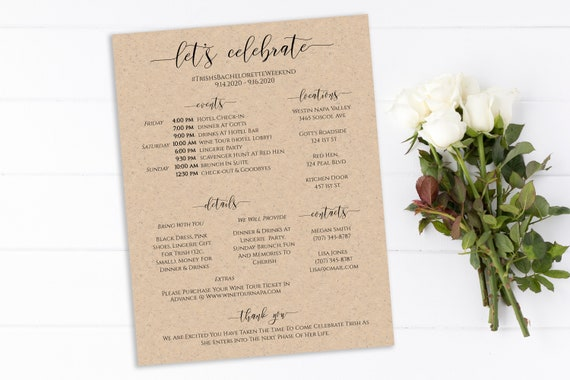 Bachelorette Weekend Itinerary & Details, Bridal Weekend Printable, Party Details, Hens Schedule, 100% Editable, Templett PPW0550 Grace