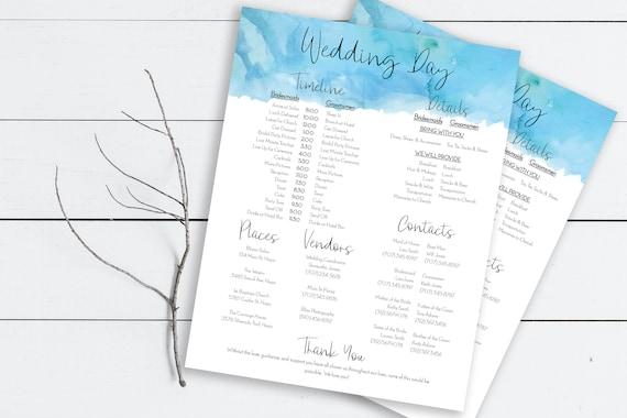 Wedding Party Timeline, Blue Ocean Watercolor Printable Wedding Day Schedule, Groomsmen Itinerary, Bridesmaid Agenda 100% Editable, PPW0600