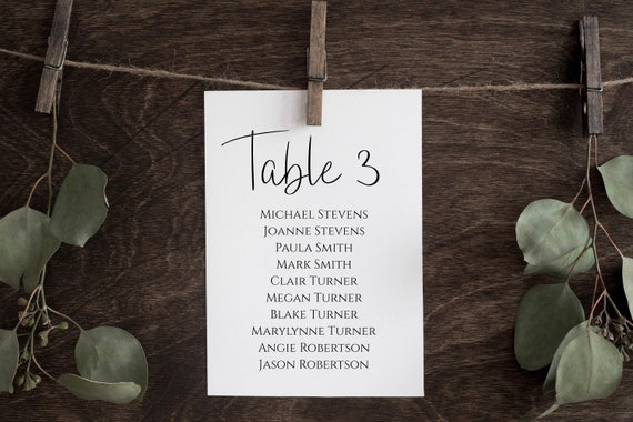 Wedding Seating Table Cards, Poster, Elegant Calligraphy Display 100% Editable Template, Templett PPW0580