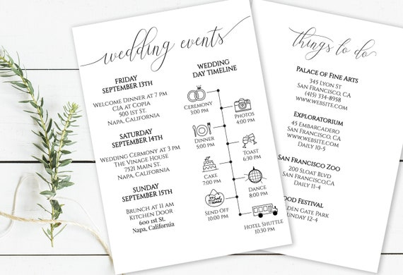 Wedding Weekend Timeline & Things to Do List, Printable Out of Town Guests,  Itinerary, Bridal Agenda, 100% Editable PPW0560