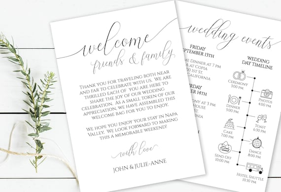 Welcome to Our Wedding Card, Wedding Weekend Timeline, Printable Out of Town Guests,  Itinerary, Agenda, 100% Editable, Templett  PPW0560