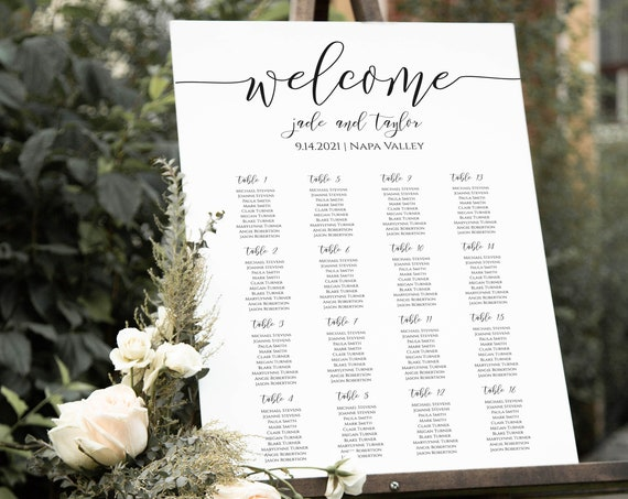 Wedding Elegant Calligraphy Seating Chart Sign, Poster, Display 100% Editable Template, Templett PPW0550