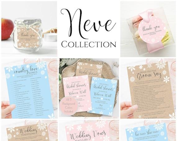 Snowflake Bridal Shower Bundle, Bridal Invite, Editable Printable Bridal Shower Games, Favor Tag Corjl NEVE PPW300