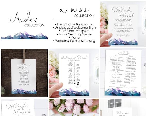 Mountain Range Wedding Template Bundle, Seating Chart, Menu, Sign, Program, Timeline, Invitation, Printable Template, Corjl ANDES PPW420