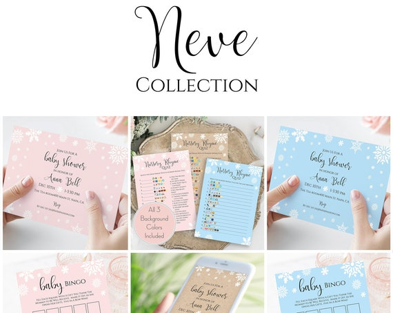 Snowflake Baby Shower Template Bundle, Invitation Card, Evite, Favor Tag, Nursery Rhyme Quiz, Bingo Game, Corjl NEVE PPB300