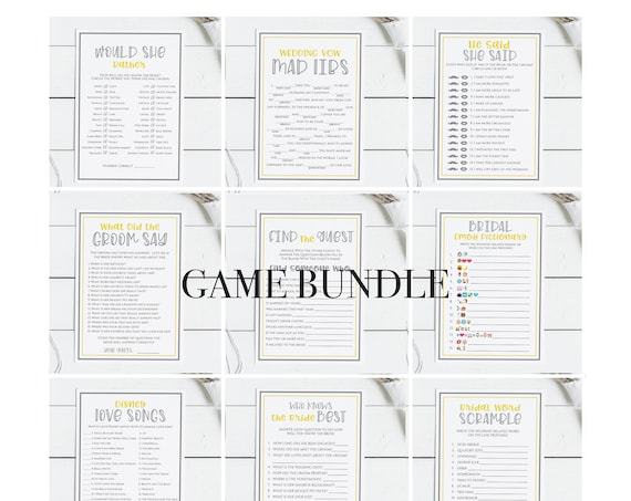 Bridal Shower Game Bundle, Yellow & Gray Bachelorette Party, Bridal Shower Activity ULTIMATE COLLECTION