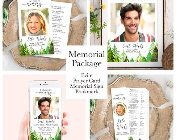Pine Tree Forest Memorial Package Welcome Sign, Evite, Prayer Card, Bookmark, Celebration of Life, Editable Corjl Template PPF410 LINDEN