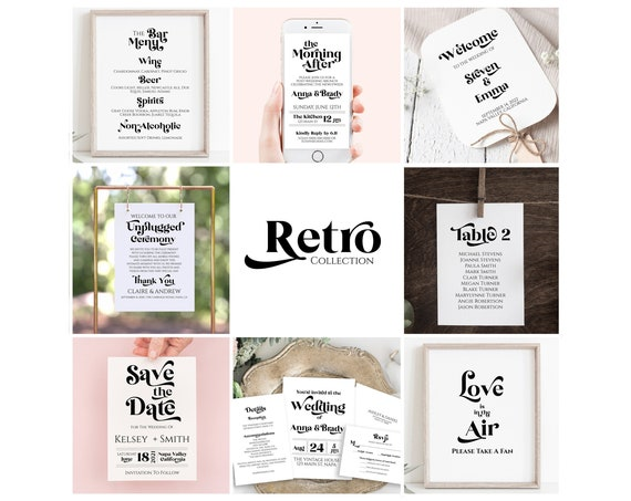 Wedding Template Bundle,  Retro 70's Theme Package, Invitation Suite, Welcome Sign, Menu, Program, Seating Cards PPW RETRO