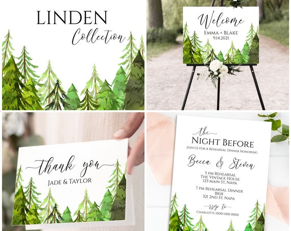 Pine Forest Wedding Bundle, Invitation Suite, Welcome Sign, Program, Seating Templates, Favor Tag, Thank You Card, Corjl LINDEN PPW410