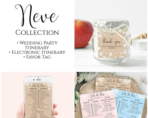Snowflake Wedding Party Timeline Bundle, Bridal Party Electronic Itinerary, Favor Tag Corjl NEVE PPW300