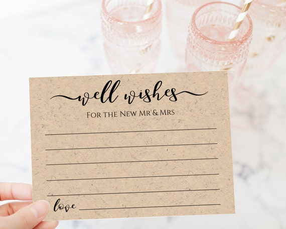 Well Wishes Card Template, Rustic Modern Leaf, Wedding or Bridal Shower Advice Card,  Instant Download 100% Editable, Templett PPW0575