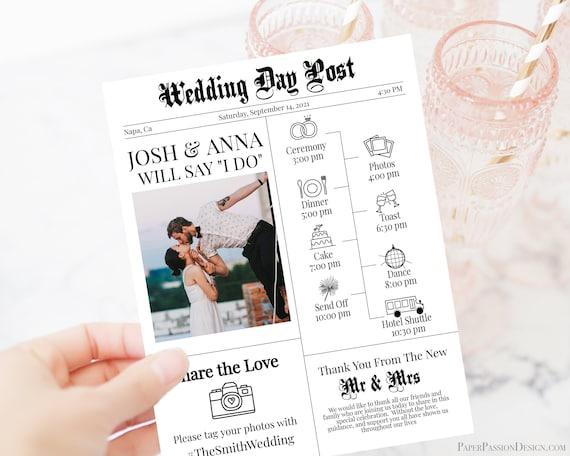 Wedding Newspaper Timeline Program, Wedding Games, Editable Program, Wedding Icons, Newspaper, Corjl, Instant Download  PPW2