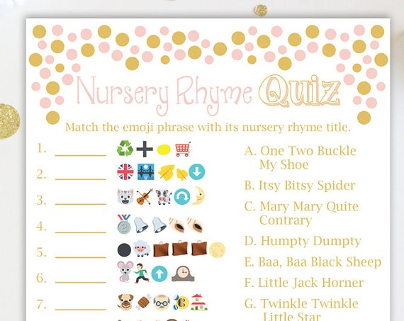 Emoji Nursery Rhyme Quiz ~ Pink and Gold Baby Shower Game ~ Baby Girl  ~ Printable Game Polka Dots 0024PG