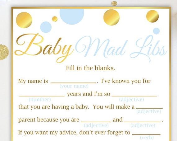Mad Libs ~ Blue and Gold Baby Shower ~ Baby Boy Polka Dot ~ Printable Game BGld20