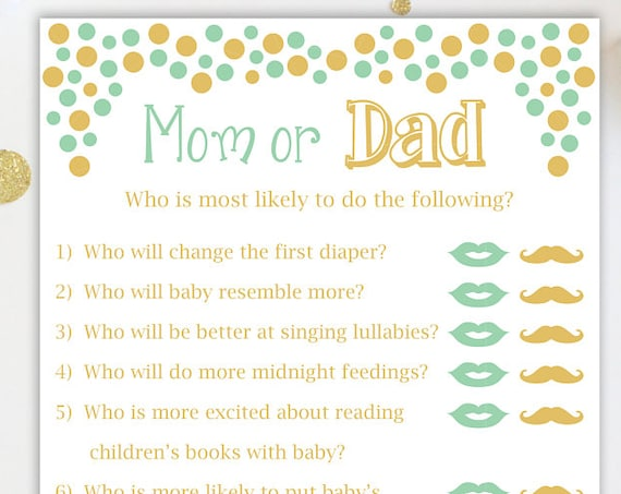 Mom or Dad Quiz~ Mint and Gold Baby Shower Game ~ Gender Neutral ~ Polka Dots ~ Printable Game 0024MintG