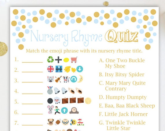Nursery Rhyme Quiz ~ Blue and Gold Baby Shower Game ~ Baby Boy Pram ~ Printable Game 0024BG