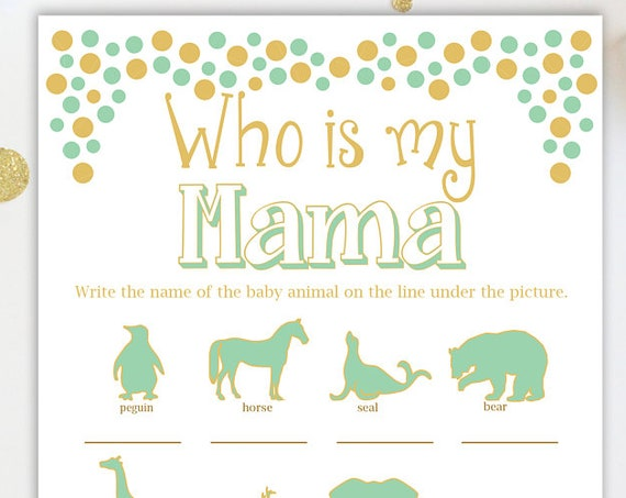 Who is My Mama Game ~ Mint and Gold Baby Shower Game ~ Gender Neutral ~ Polka Dots ~ Printable Game 0024MintG