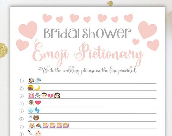 Bridal Shower Pictionary Game ~ Pink and Silver Bridal Shower Game ~ Wedding Hearts ~ Printable Game GldBridal20