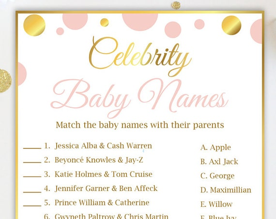 Celebrity Baby Names Shower Game ~ Pink and Gold Baby Shower ~ Baby Girl Polka Dot ~ Printable Game PGld20