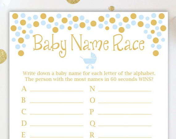 Baby Name Race Game ~ Blue and Gold Baby Shower Game ~ Baby Boy Pram ~ Printable Game 0024BG