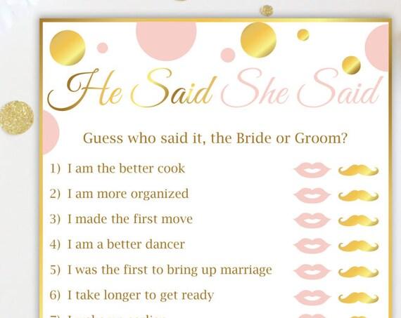 He Said She Said ~ Pink and Gold Bridal Shower Game ~ Gold Polka Dot ~ Printable Game GldBridal20