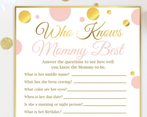Who Knows Mom-To-Be Best Game ~ Pink and Gold Baby Shower  ~ Baby Girl Polka Dot ~ Printable Game PGld20