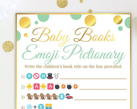 Baby Books Emoji Game ~ Mint and Gold Baby Shower Game ~  Gender Neutral Polka Dot ~ Printable Game MintGld20