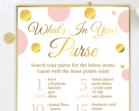 What's in your Purse ~ Pink and Gold Bridal Shower Game ~ Gold Polka Dot ~ Printable Game GldBridal20